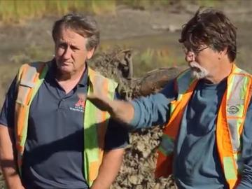 Ian doing research on Oak Island with Rick Lagina
