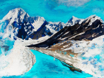 Paintings incorporate materials from Carbon Upcycling