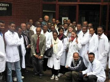 Dr. Gedamu and students in Ethiopia