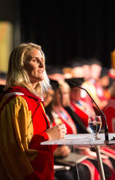 Hayley Wickenheiser speaks at convocation June 7, after receiving an honorary Doctor of Laws from the University of Calgary.