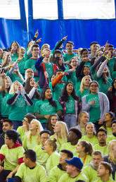 About 4,500 new University of Calgary students took part in a boisterous pep rally during the Induction Ceremony Tuesday. The university welcomed a total of more than 8,000 new students this fall.