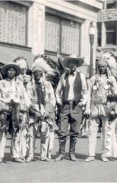 Guy Weadick and Indigenous participants in the Stampede parade, 1926.