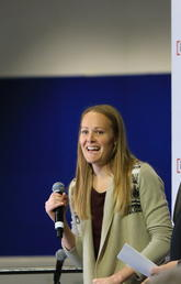 University of Calgary alumna Jessica Gregg, two-time Olympian and Olympic medallist, was inducted into the Olympic Oval Hall of Champions Nov. 4. With her is event MC Mike Moman.