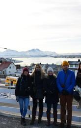 Third-year landscape architecture students, from left: Alexia Caron-Roy, Eva Stoklasova, Emily Young, Ben Hettinga, Tara Khazai, Iuliana Morar in Norway to learn about winter city design. Photo courtesy Alexia Caron-Roy