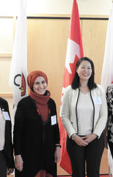 From left: Panel member Jithamala Caldera, moderator Lina Kattan, keynote speaker Yukiko Takeuchi, and panel member Lauren Harris discussed how the lessons Takeuchi presented on Japan's natural disasters can be applied to issues here in Calgary.