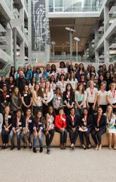 Technovation Calgary and area teams with their teachers and mentors.