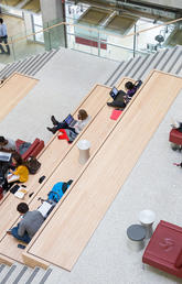 Students use a quiet space at the University of Calgary to catch up on their studies.