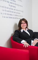 """Says Angelique Jenney, the new Wood's Homes Research Chair in Children's Mental Health: """"There are some who would say, 'You only give them one chance, so they can learn.' That's not my belief system. How many of us can say we learned everything right the first time?"""" Photo by Riley Brandt, University of Calgary"""