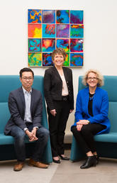 Andrew Szeto, director of the Campus Mental Health Strategy, left; Jacqueline Smith, newly appointed director of mental health and wellness for the Faculty of Nursing; and Dean Sandra Davidson launch a three-year initiative prioritizing mental health in the Faculty of Nursing. Photo by Riley Brandt, University of Calgary