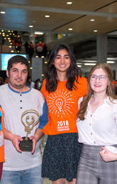 Participating in Innovation 4 Health's student-run Health Hack competition at the University of Calgary, the top team was, from left: Sonia Martins, Abdullah Sarhan, Mariam Keshavjee and Julia St. Amand. Photo by Don Molyneaux for the Cumming School of Medicine