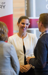 Science and Sport Minister Kirsty Duncan tours a University of Calgary lab after making a recent announcement. Duncan on Tuesday announced a $588-million investment in research under the Natural Sciences and Engineering Research Council of Canada. File photo by Riley Brandt, University of Calgary