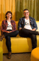 University of Calgary Faculty of Law students Hannah Hunter-Loubert, left, and Jay Moch are two of the founding members of OUTLaw, a student group dedicated to serving the LGBTQ+ community at the law school.  Photo by Riley Brandt, University of Calgary