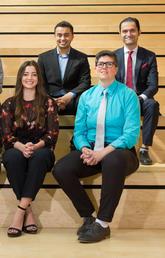 University of Calgary 2019 Vanier Canada Graduate Scholarship Winners, from left: Kimberley Manalili, Brandon Tyler Craig, James Bull, Adrianna Michele Giuffre, Sarthak Sinha, Keira Gunn, and Mohammadali Ahmadi. Not pictured: Chelsie Christie and Mason Stothart. Photo by Riley Brandt, University of Calgary