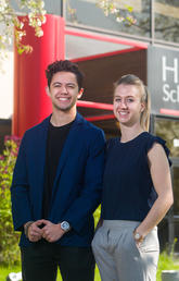 Roberta Stinn and Patrick Ma are part of the inaugural cohort in the new Master of Management program at the University of Calgary's Haskayne School of Business. Photo by Riley Brandt, University of Calgary