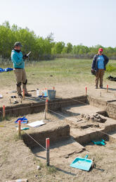 Students from Siksika Nation Outreach School take part in an archaeological excavation at Cluny Fortified Village, located near the Blackfoot Crossing Historical Park and Interpretive Centre. Photo by Riley Brandt, University of Calgary