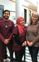 UCQ students with their UCalgary Nursing instructor: Abdelrahman Al-Saadi; Omar Ali Azab; Pratiwi Hastania; Cherié Wilson (UCalgary); and Munia Ziyada. Photo by Karen Cook, Faculty of Nursing