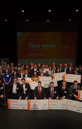 Group photo of the 2019 RBC Fast Pitch Competition student participants and judges. Photos by Kelly Hofer, Haskayne School of Business