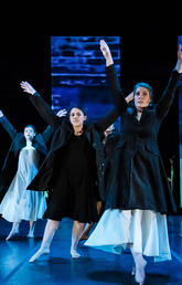Dancing in Long Arch of Hope, choreographed by Melissa Monteros for MainStage Dance 2019, from left: Hayley McDougall, BA Dance/B Kinesiology, graduating in June; Veronica Delgado, BFA Dance, entering third year in fall; Lindsay Morrison, BA Dance/B Kinesiology, graduating in June; and Sarah Vander Ploeg, BFA Dance, entering second year in fall. Photo by Citrus Photo
