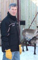 Dr. John Matyas and reindeer