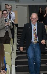 Gordon Atkins gets applause after winning award