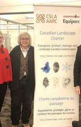 Left to right: Tisha Croome, representing Equiparc, Cathy Sears, LACF Scholarship Champion for UCalgary and representing EXP, Dr. Mary-Ellen Tyler, SAPL and Matt Williams, AALA President