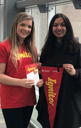 Student Grace Hudson, left, with Sabiha Zaman