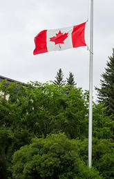 Campus flag at half mast