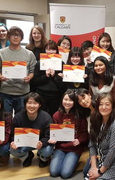Students from Hokkaido University of Education (HUE) with their Conversation Buddies at the 2019 TAB Farewell Celebration