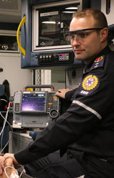 In this simulation Greg Sikora, EMS paramedic, is wearing the eye tracking glasses that assisted in the study.
