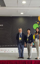 Siu Ming Kwok, left, with Dora Tam and Samantha Hung, at Outreach Work conference.