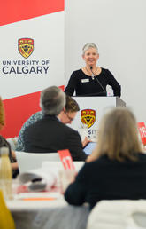 Beth Gignac, chief operating officer of the United Way, Calgary and Area speaks at Knowledge to Impact: Igniting Community Engagement in 2019.