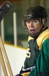 Hockey players wearing mouthguards