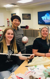 Social Work faculty members create plarn blankets