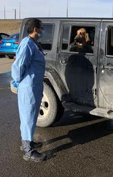 Serge Chalhoub doing curbside pickup