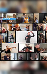 collage of musicians playing from their own homes