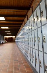 An empty Math Sciences hallway.