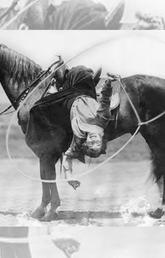 From the Glenbow Archives, Performer Flores LaDue was skilled with a rope and a horse.