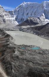 A proglacial (in front of the glacier) lake at Imja Glacier, Nepal.