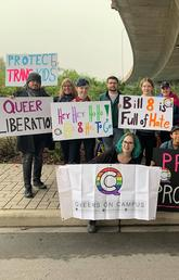 Queers on Campus pose for a photo after the 2019 Calgary Pride parade