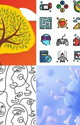 Images representing topics: tree, game icons, virus and line drawing of face