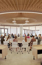 The Viewpoint Circle for Dialogue at the heart of the new Mathison Hall, will be a unique space – a circular 84-person room that brings people together for important discussions, lessons and gatherings.