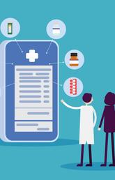 An illustrated doctor and patient stand in front of a digital health application on a smart phone