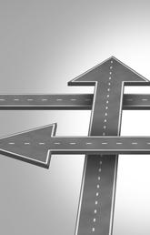 Illustration of criss-crossing roads in the shape of directional arrows