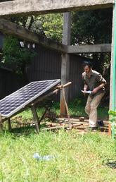 Duncan Lucas tests a solar panel and a water pump at the Bahir Dar Institute of Technology.