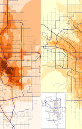 Summer (left) and winter (right) NO2 (nitrogen dioxide) levels in Calgary, estimated from 99 summer and 94 winter samples, shown in the insets.