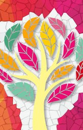 A graphic of a tree with different coloured leaves sits on a colourful mosaic-type background