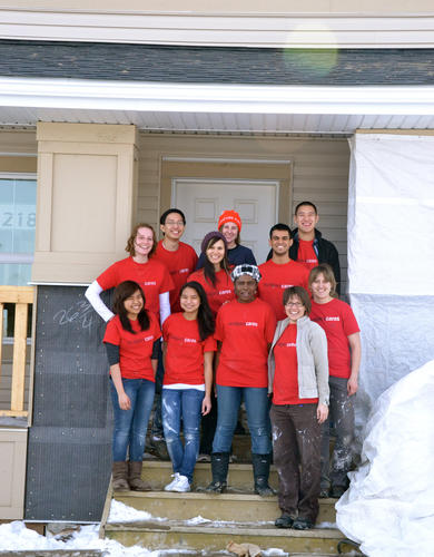 University of Calgary students volunteer at Habitat for Humanity as part of the ucalgarycares BSD Day of Service, an alternative to the traditional Bermuda Shorts Day celebration.